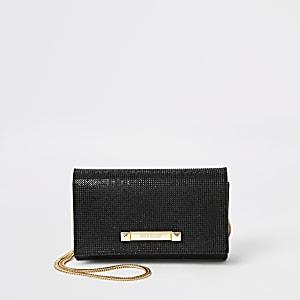 Zwarte schoudertas met siersteentjes