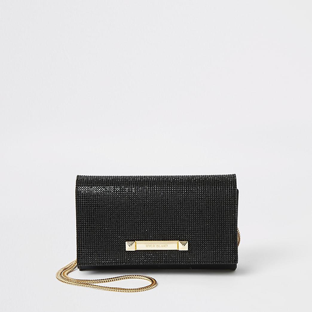 Black diamante underarm bag