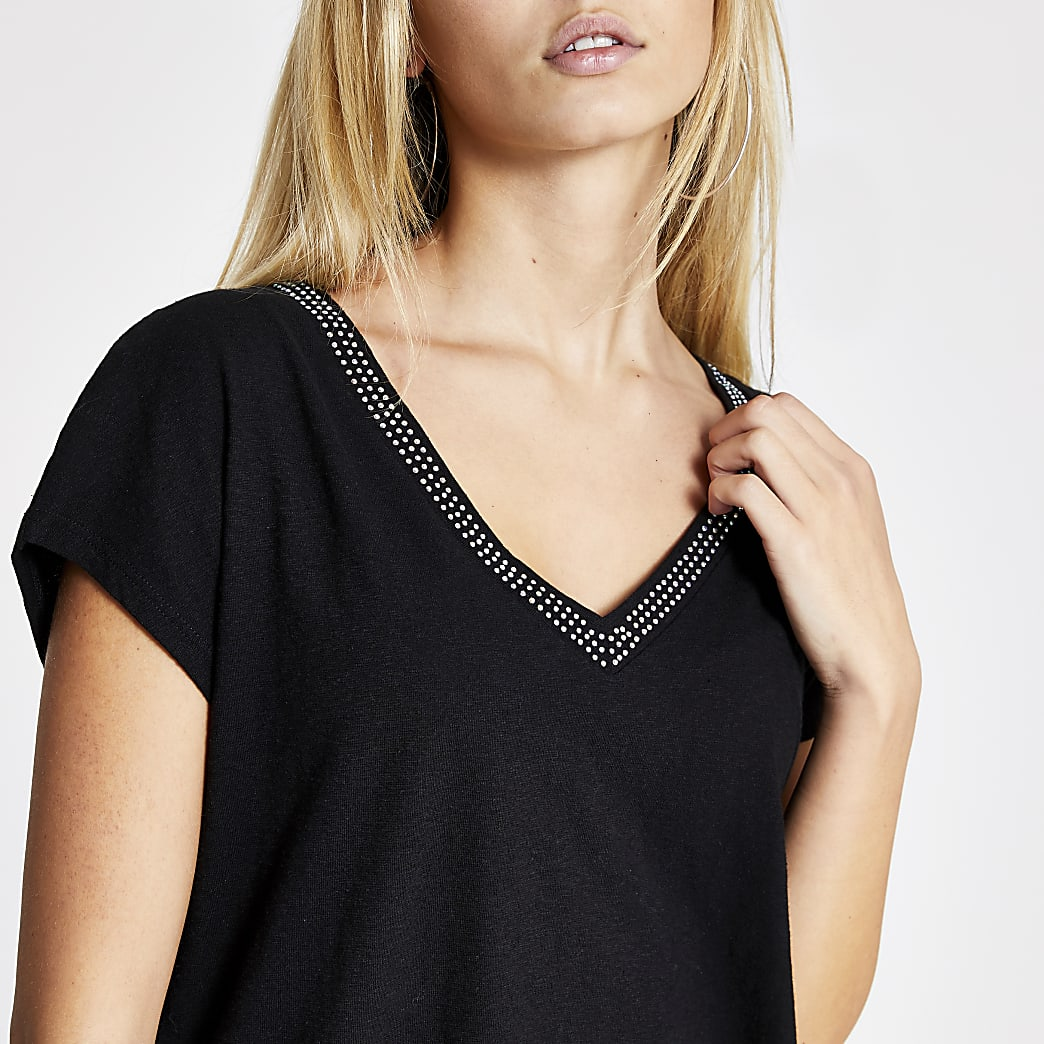T-shirt ample diamant noir à col en V