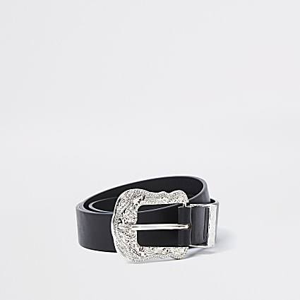 Black diamante western buckle belt