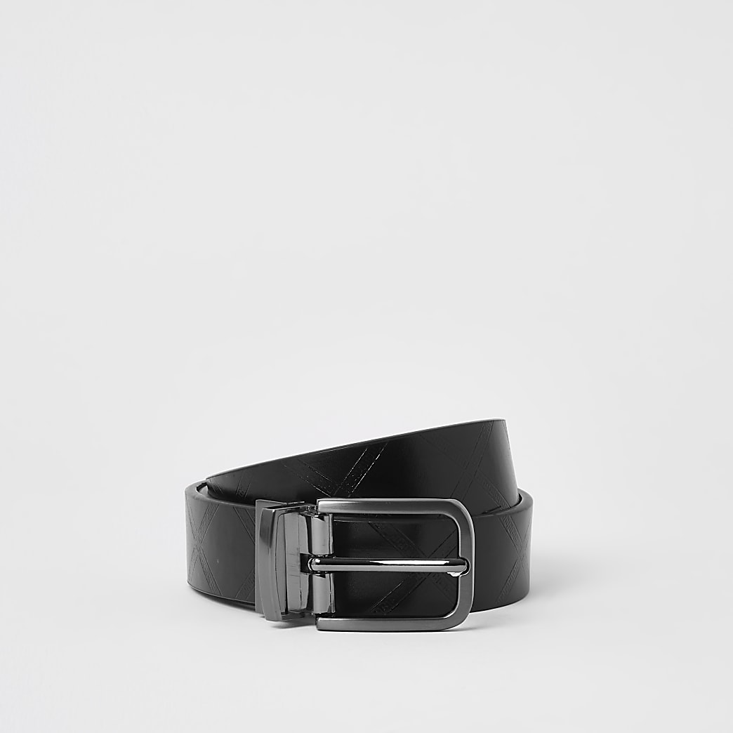 Black diamond emboss reversible belt