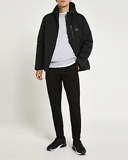 Black diamond quilted hooded parka jacket