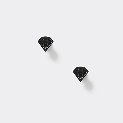 Black diamond tunnel earrings