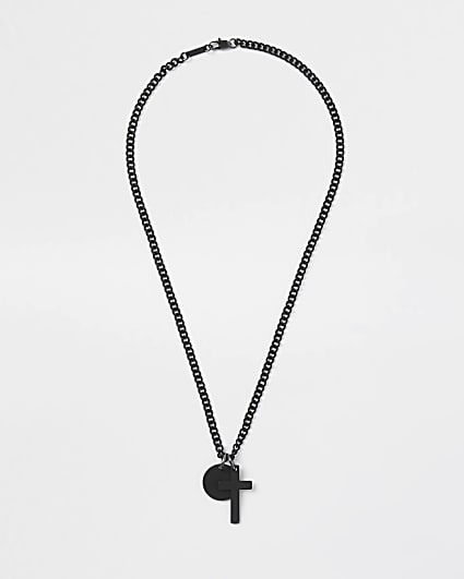 Black disc and cross necklace