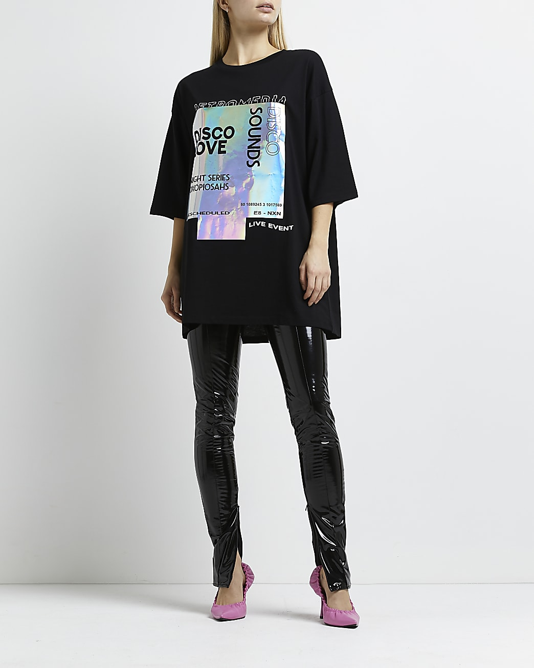 Black 'Disco Love' graphic oversized t-shirt