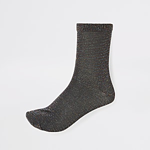 Black disco metallic ankle socks
