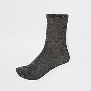 Socquettes noir métallisé