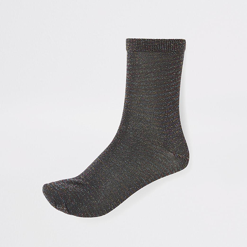 Black disco metallic ankle socks