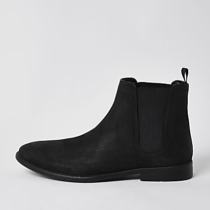 Black distressed chelsea boot