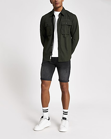 Black distressed Sid skinny denim shorts