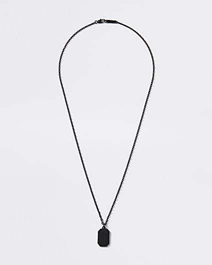 Black dog tag pendant necklace