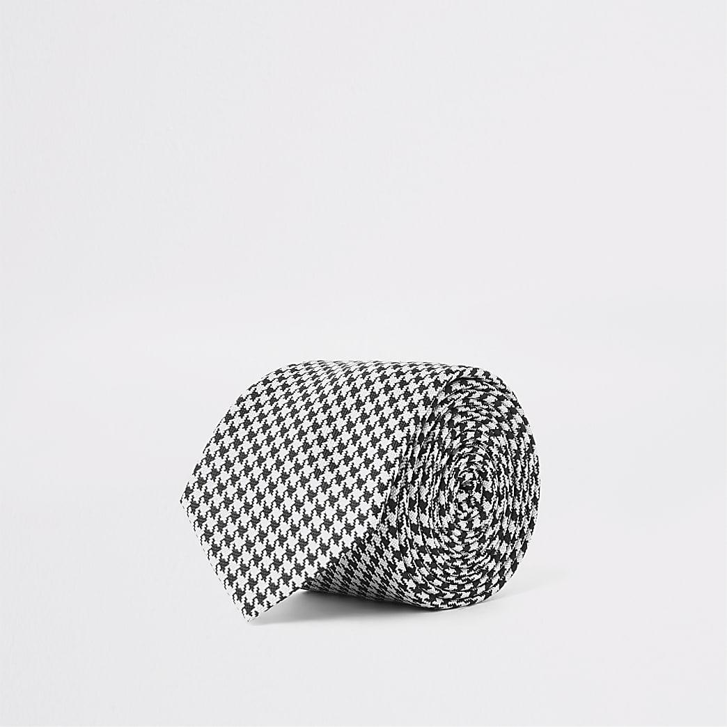 Schwarze, strukturierte Krawatte mit Hahnentritt-Muster