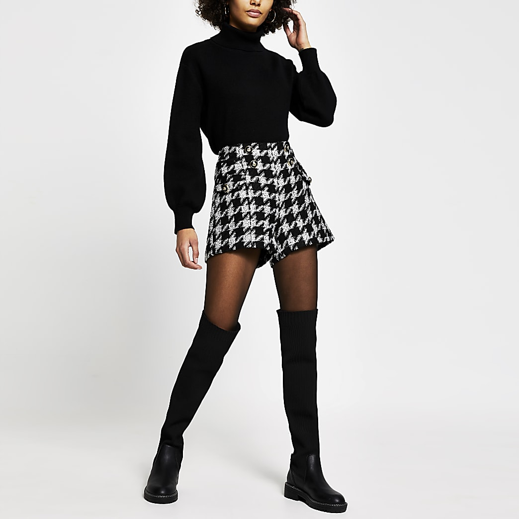 Black dogtooth boucle gold button shorts