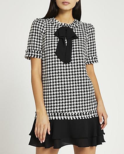 Black dogtooth boucle mini dress