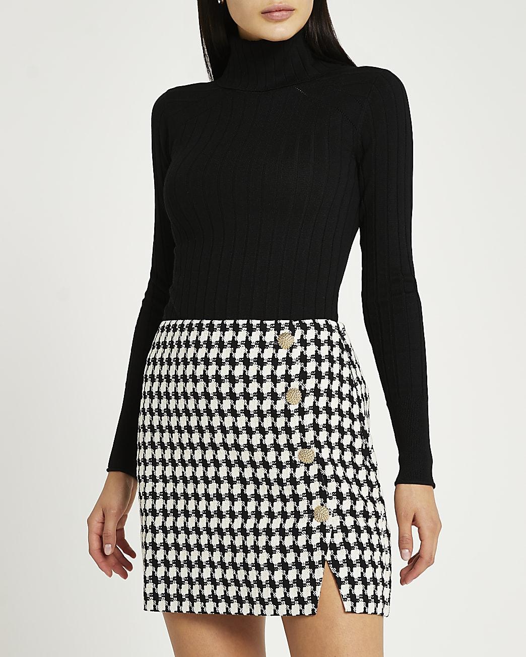 Black dogtooth boucle mini skirt