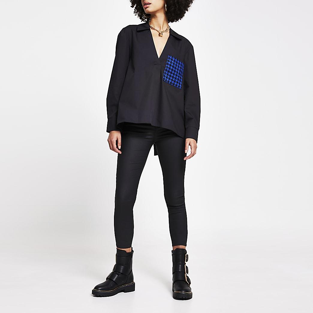 Black dogtooth boucle pocket shirt