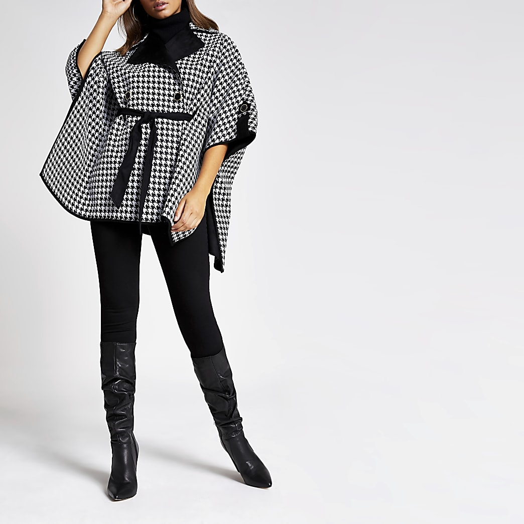 Black dogtooth check belted cape jacket