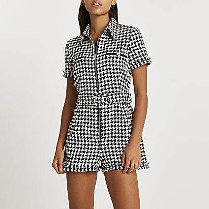 Black dogtooth check boucle belted playsuit