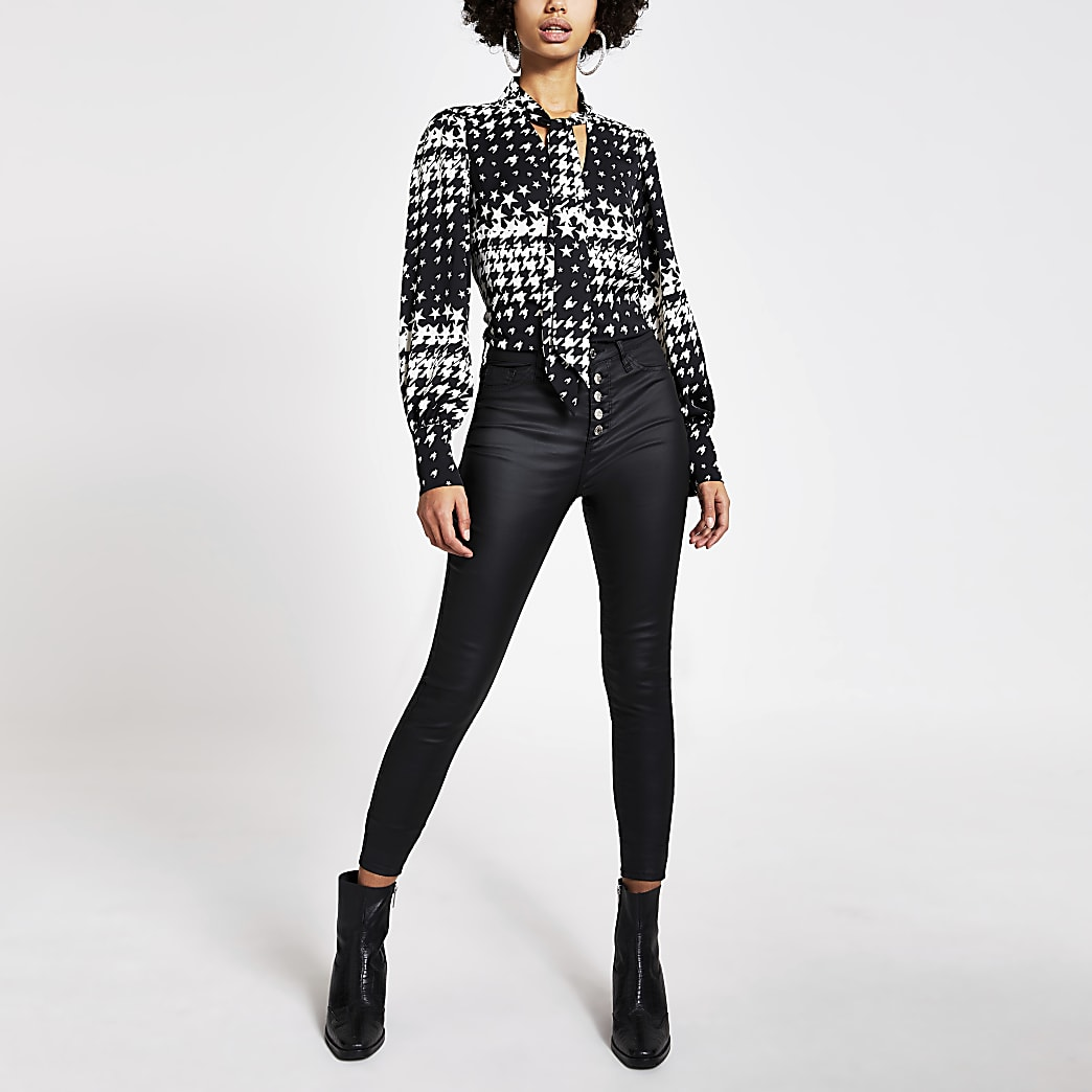 Black dogtooth check tie V neck blouse