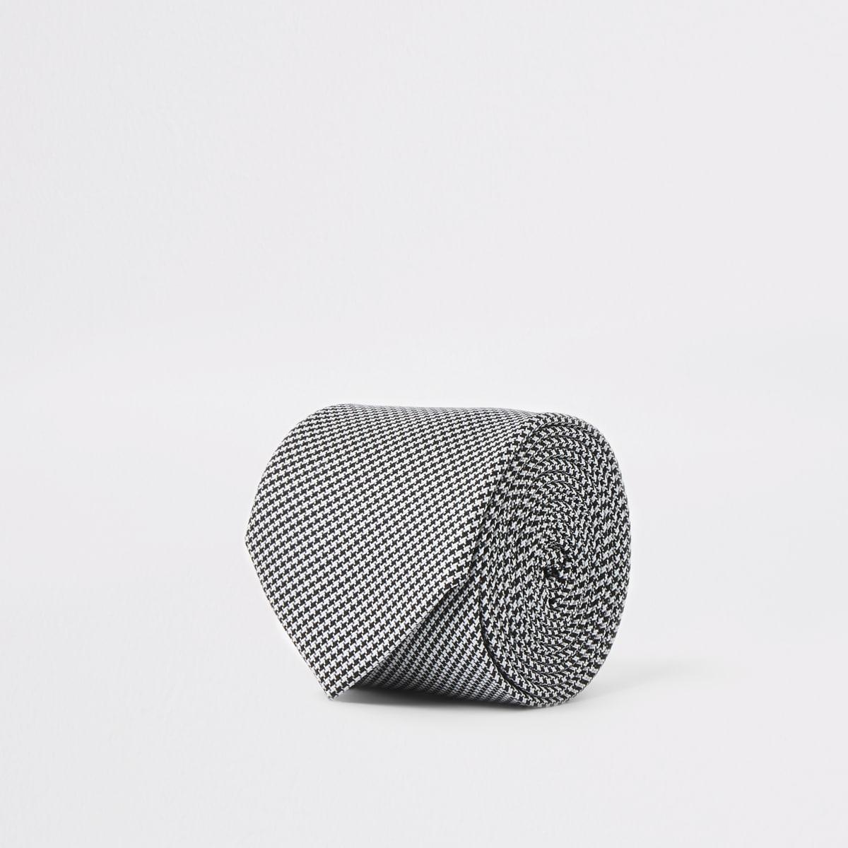 Schwarze Krawatte mit Hahnentritt-Muster