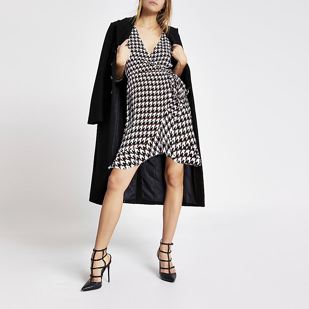 Black dogtooth check wrap playsuit