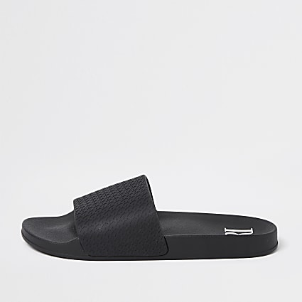 Black dogtooth embossed sliders