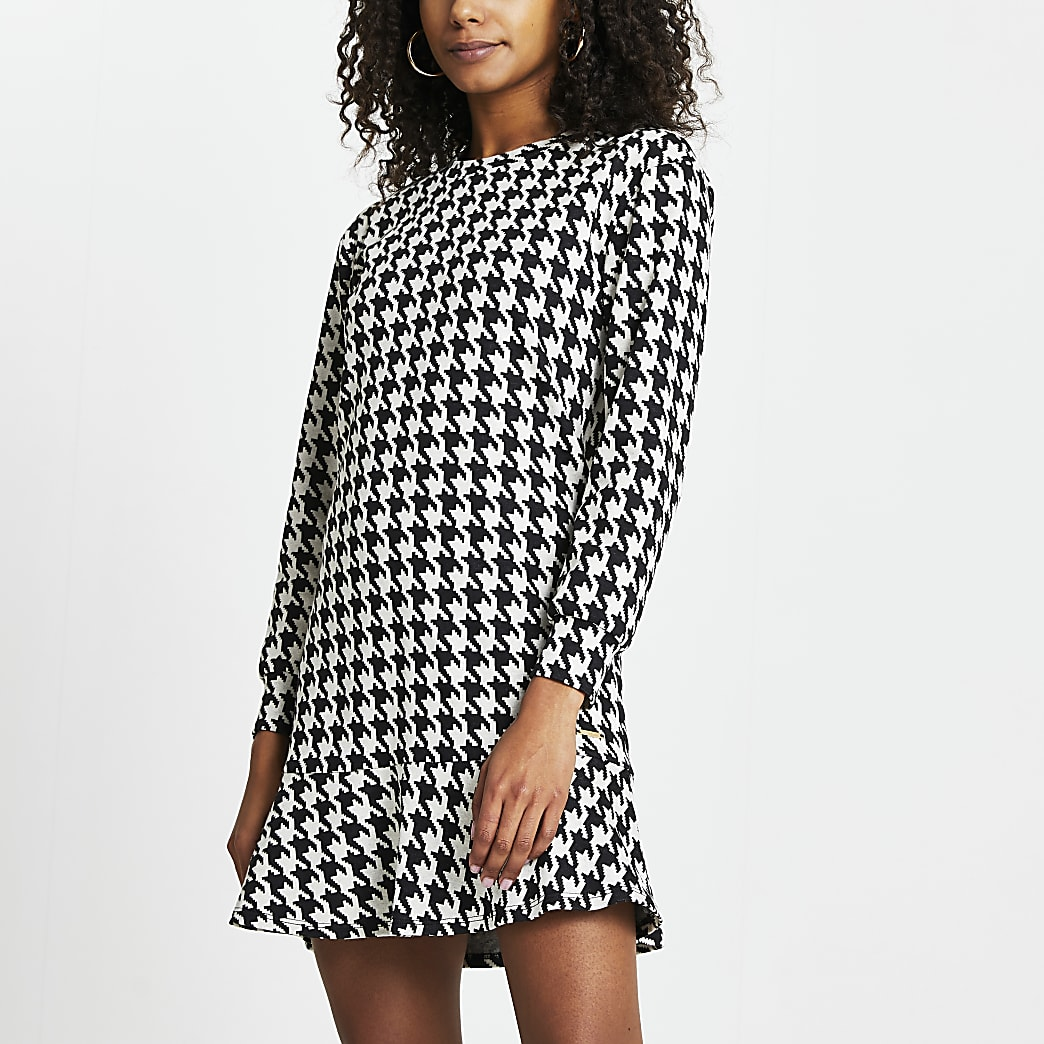Black dogtooth frill hem mini dress