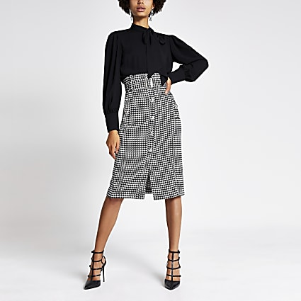 Black dogtooth paperbag midi pencil skirt
