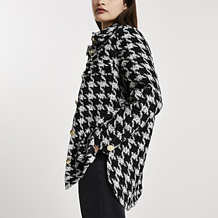 Black dogtooth print boucle shacket