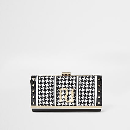 Black dogtooth print clip top purse