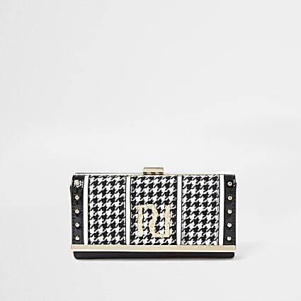Black dogtooth print clip top purse