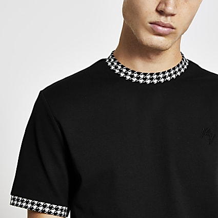 Black dogtooth ringer print t-shirt