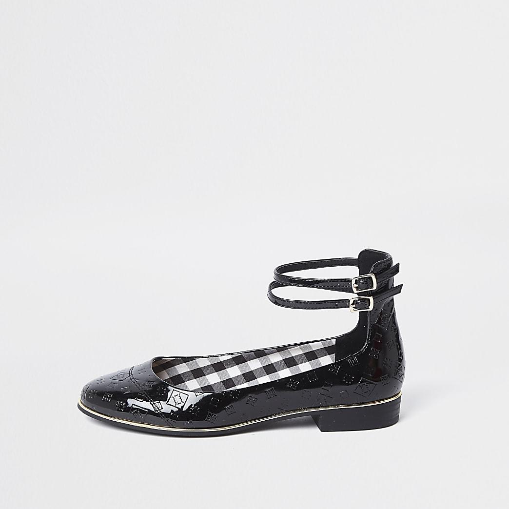 Black double ankle strap ballet pumps