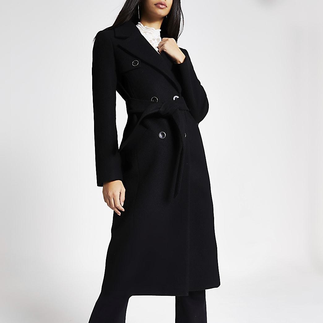 Manteau croisé noir coupe longue
