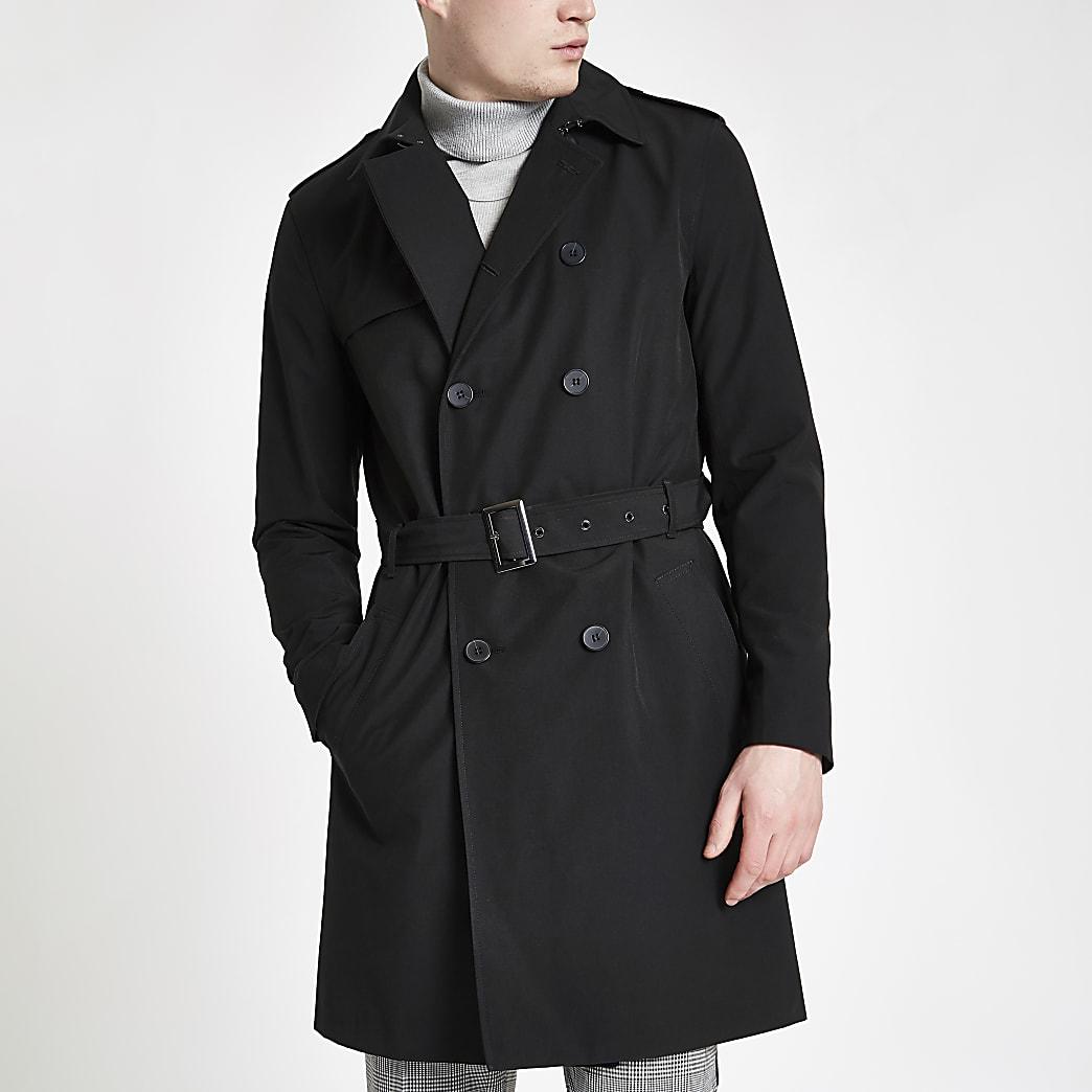 Schwarzer, zweireihiger Trenchcoat mit Gürtel