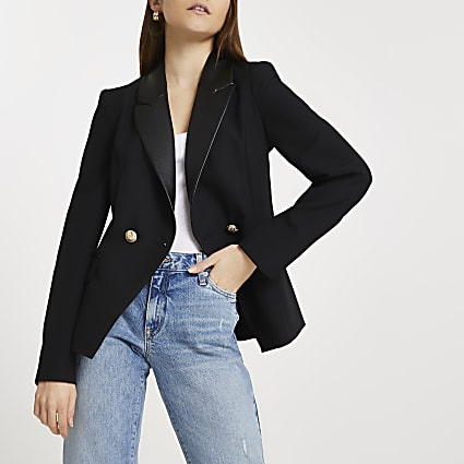 Black double breasted fitted blazer