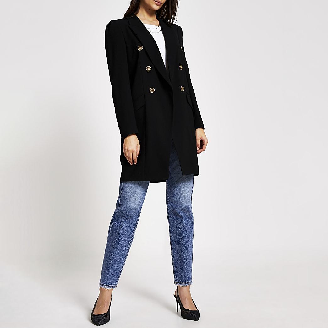 Zwarte lange double-breasted blazer