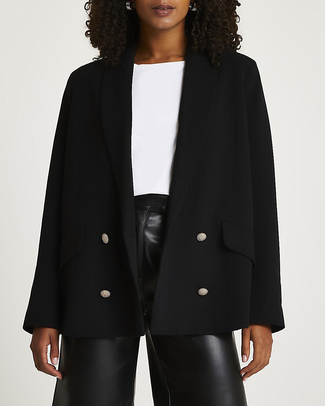 Black double breasted oversized blazer