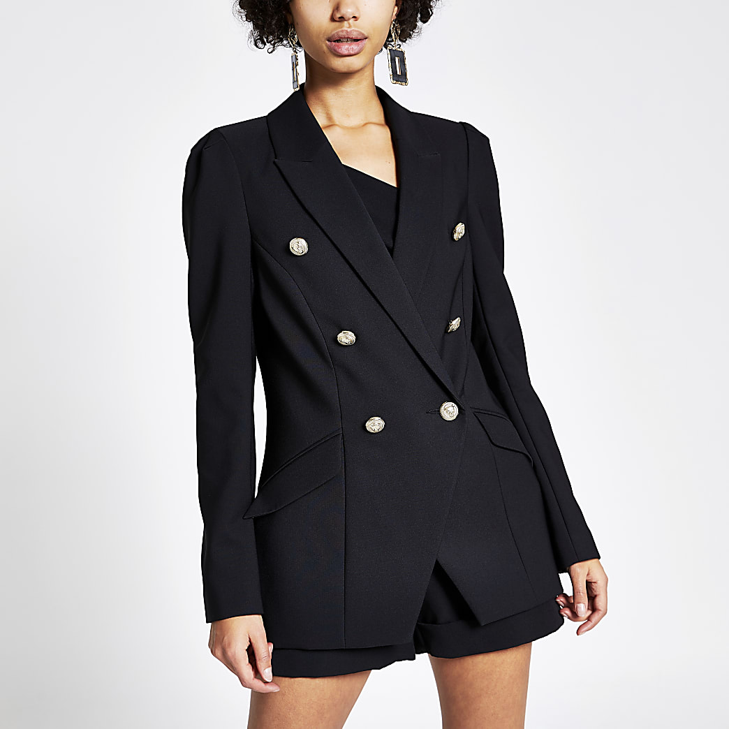 Black double breasted puff sleeve blazer