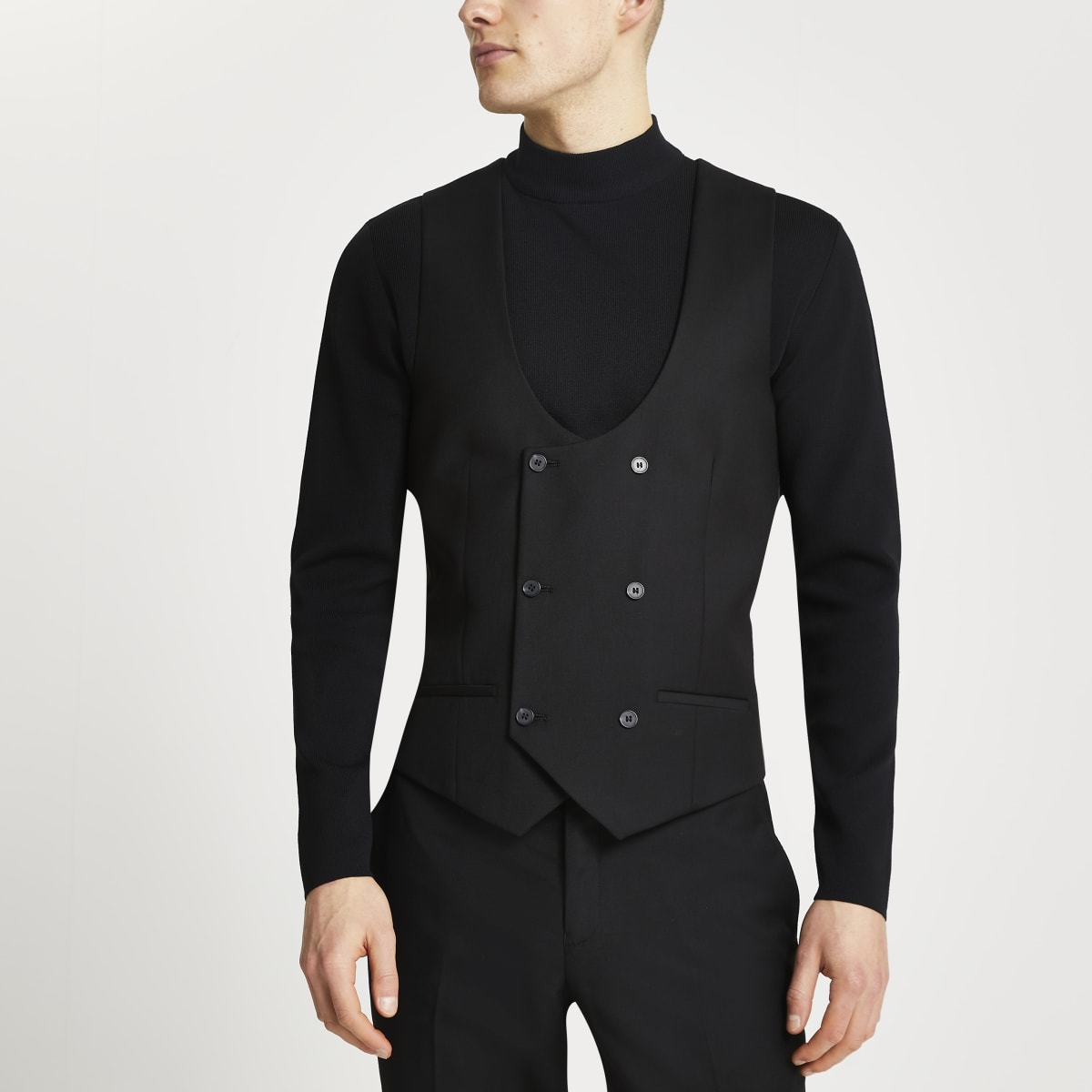 Black double breasted suit waistcoat