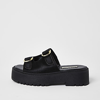 Black double buckle flatform sandal