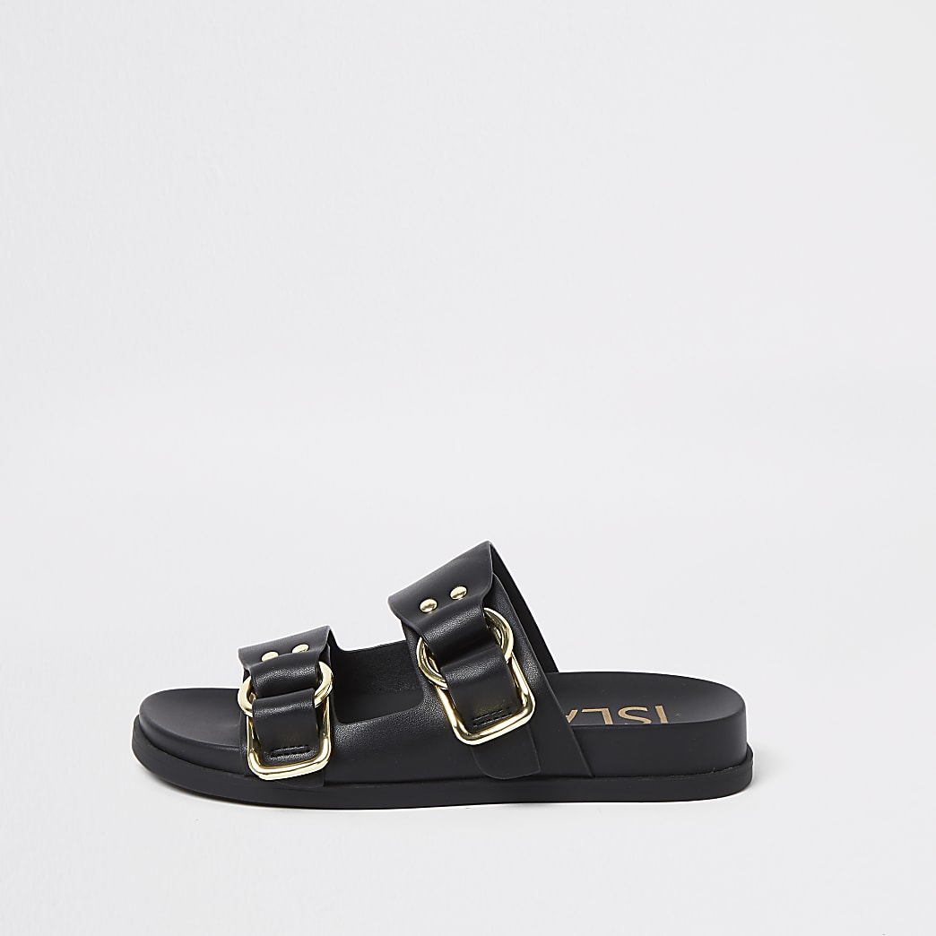 Black double buckle strap flat sandal