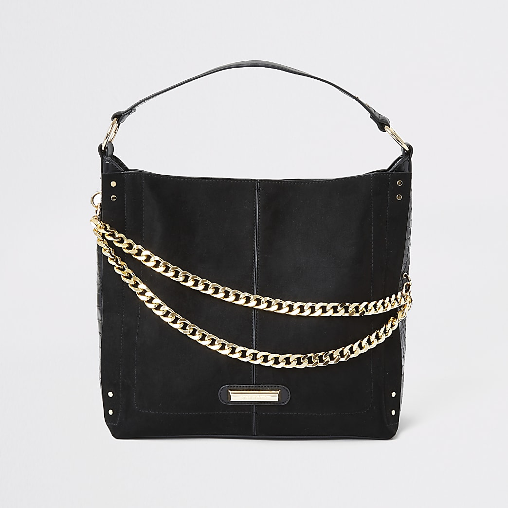 Black Double Chain Front Slouch Bag