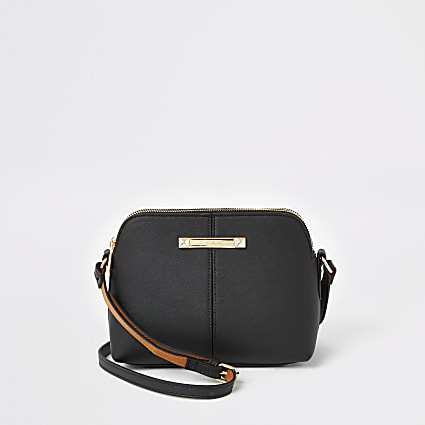 Black double compartment cross body bag