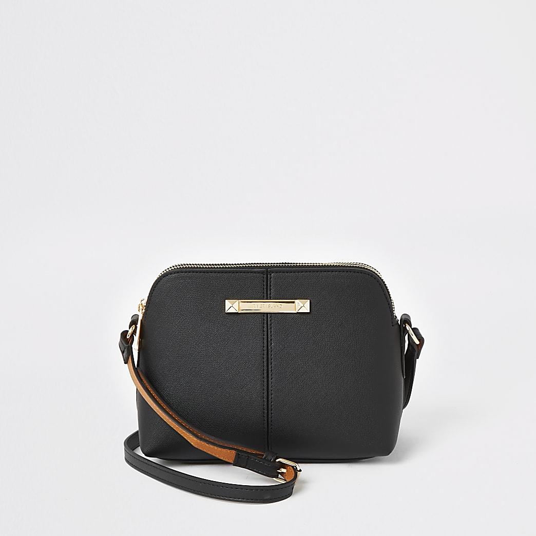Black double compartment crossbody bag