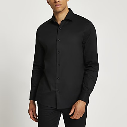 Black double cuff long sleeve shirt