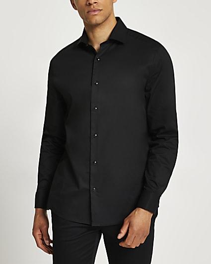 Black double cuff long sleeve shirt