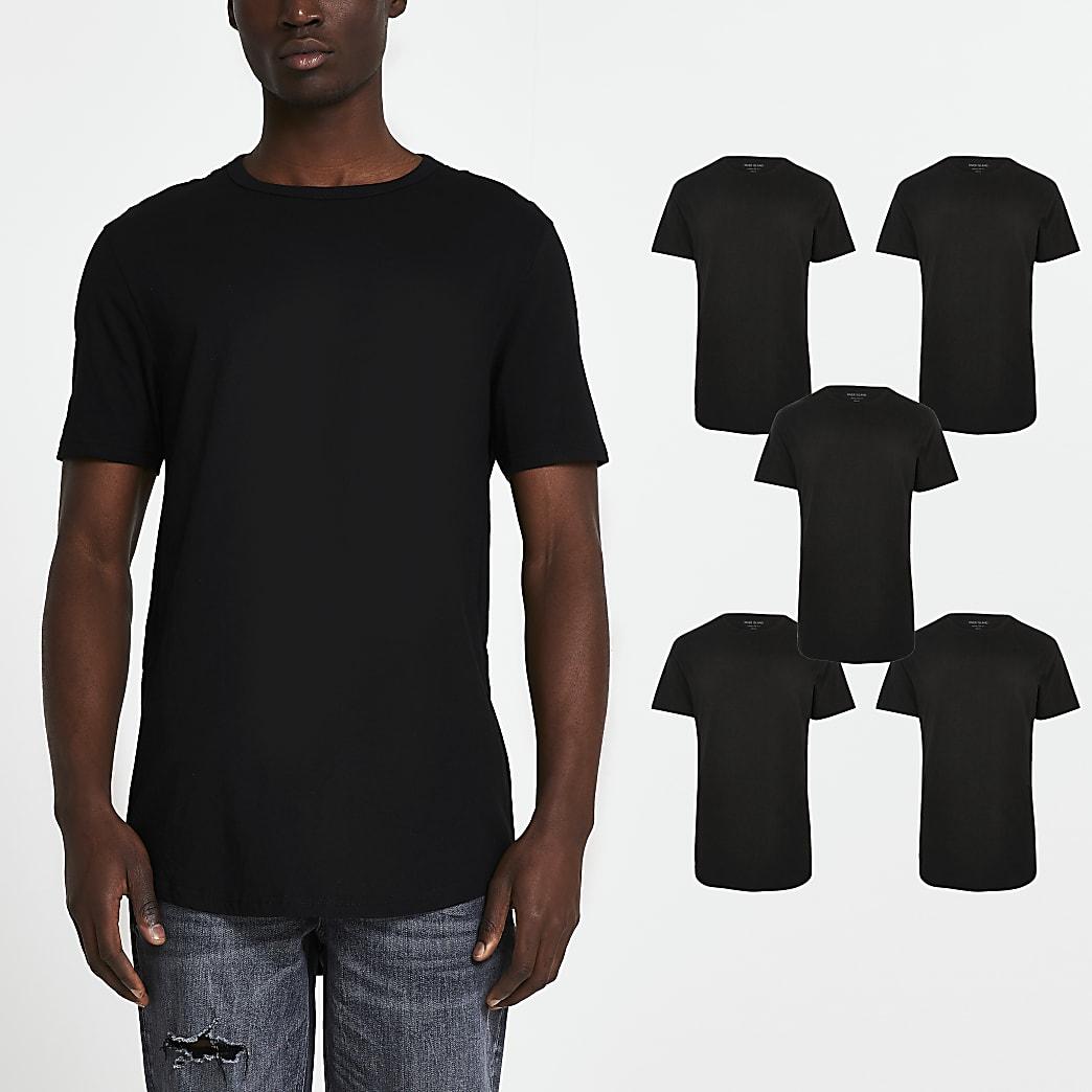 Black double curve hem t-shirts 5 pack