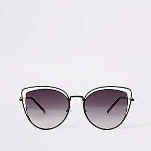 Cateye-Sonnenbrille mit Doppelrahmen in Schwarz