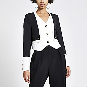 Black double layer jacket top